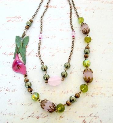 328A Pink Calla Lily Necklace