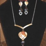 3D Puffed Heart Necklace and Earrings