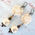 413 Flower Applique Earrings
