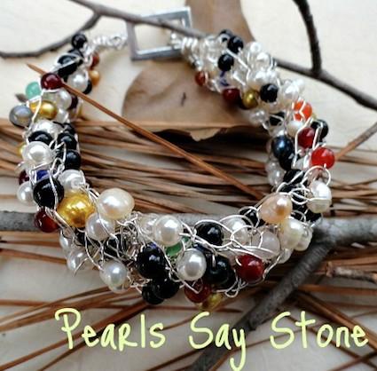 Angela Jones - pearls say stone bracelet