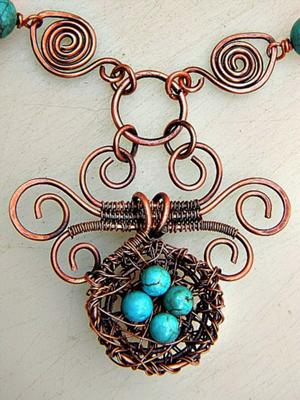 Wire and turquoise bird's nest, by Zoraida Bros  - featured on Jewelry Making Journal