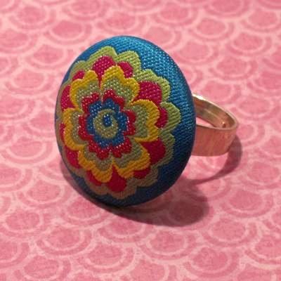Boho Fabric Button Ring