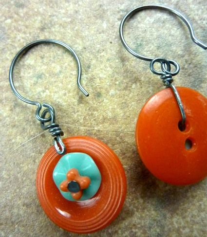 Luann Udell - orange vintage button earrings