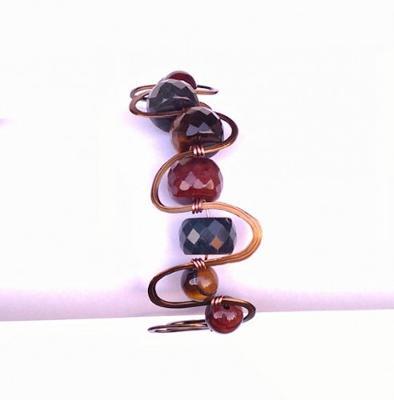 Vintaj Multicolor Tigerseye Hammered Cuff Bracelet