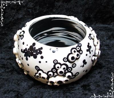 White Barnacles Polymer Clay Bangle