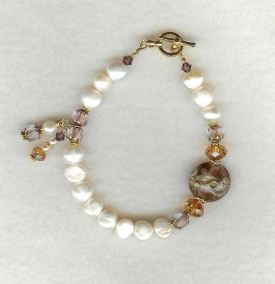 White Pearl and Lampwork Bracelet