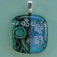 Wild Daisies Fused Dichroic Glass Pendant
