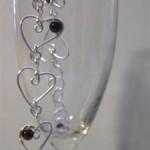 Wire Hearts & Garnets Bracelet