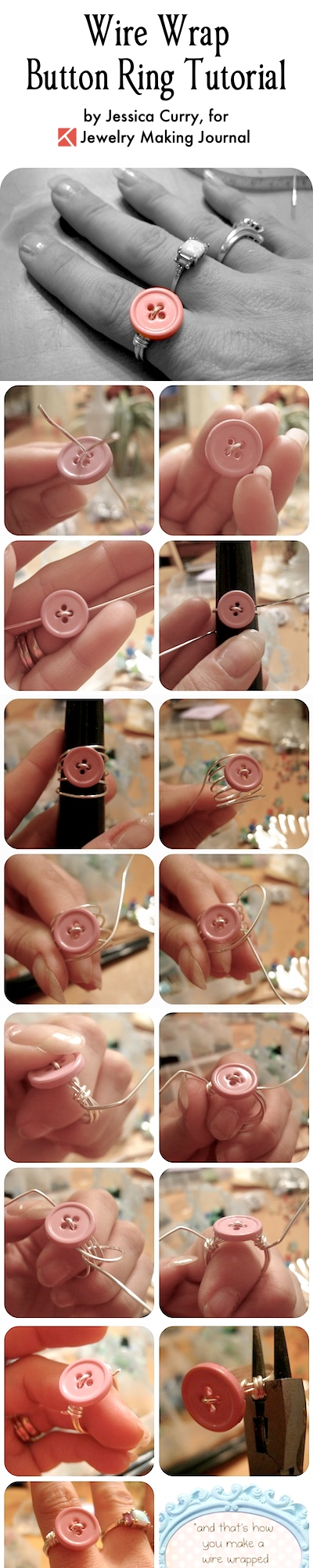Wire Wrap Button Ring Tutorial, by Jessica Curry  - featured on Jewelry Making Journal
