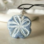 Blue and White Flower Polymer Clay Pendant