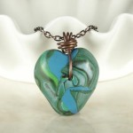 Teal and Blue Polymer Clay Pendant with Copper Wire Bail