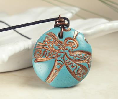 Turquoise Dragonfly Polymer Clay Pendant With Copper Wire Bail