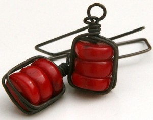 Wrapped Stacked Blood Red Coral Earrings