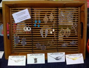 Bamboo Serving Tray as an Earring Display!
