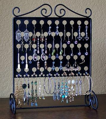 Black Wrought Iron (Metal) Earring Angel Pierced Earring Display~Holder~Organizer