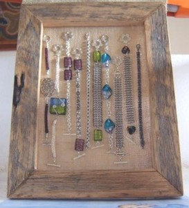 Chris' Recycled Timber Bracelet and Earring Display