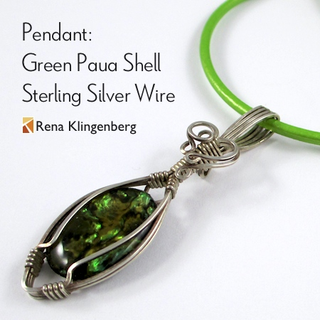 Green Paua Shell Sterling Silver Wire Pendant by Rena Klingenberg