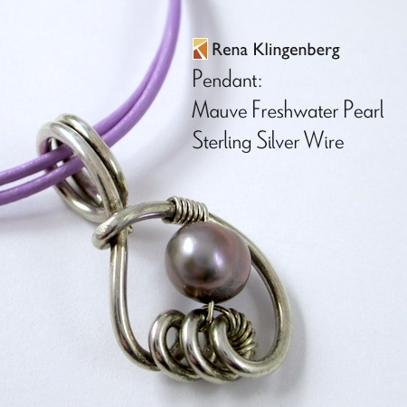 Mauve Freshwater Pearl and Sterling Silver Pendant by Rena Klingenberg