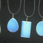 Black Necklace Display Makes Opalite Glow