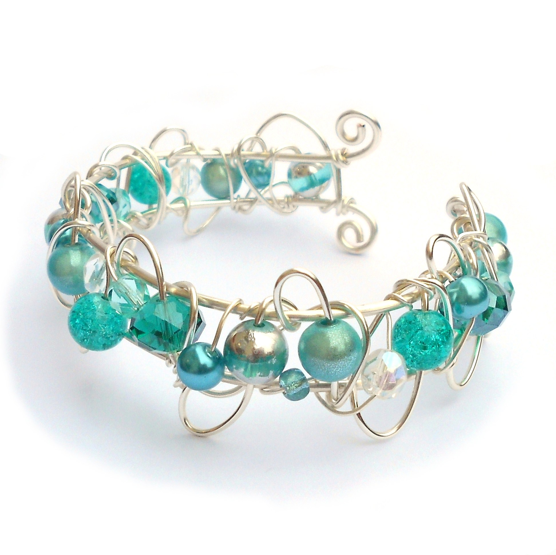 Vintage Wire Chain Jewelry Making Brass Chain Custom: Shades Of Turquoise Wire Cuff Bracelet