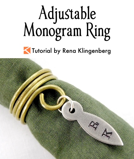 Adjustable Monogram Ring Tutorial by Rena Klingenberg