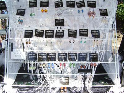 Earring Display from Drying Rack and a Lace Scarf. . . Wind Resistant!