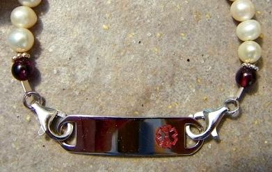 Pearl and Garnet Medical Alert Bracelet by Elizabeth Wald