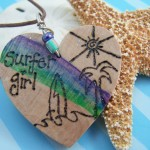 Wood Burned Heart Necklace