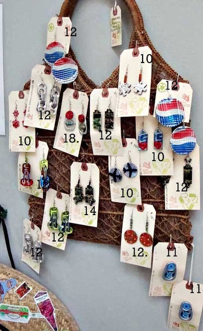 Earring display idea - hanging on a purse