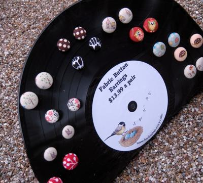 Recycled Vinyl Record Earring Display