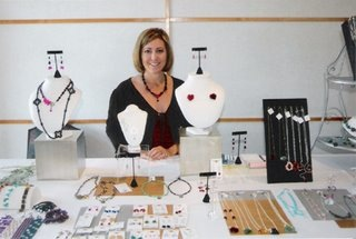Shari Bonnin At Her Jewelry Table.