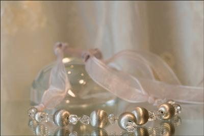 Silver Sphere Organza Ribbon Necklace