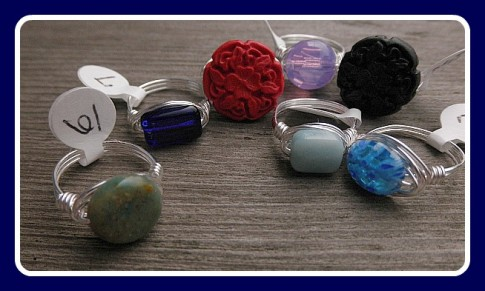 Wire wrapped rings by Lynda Carson