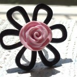 Wood and Clay Flower Power Ring