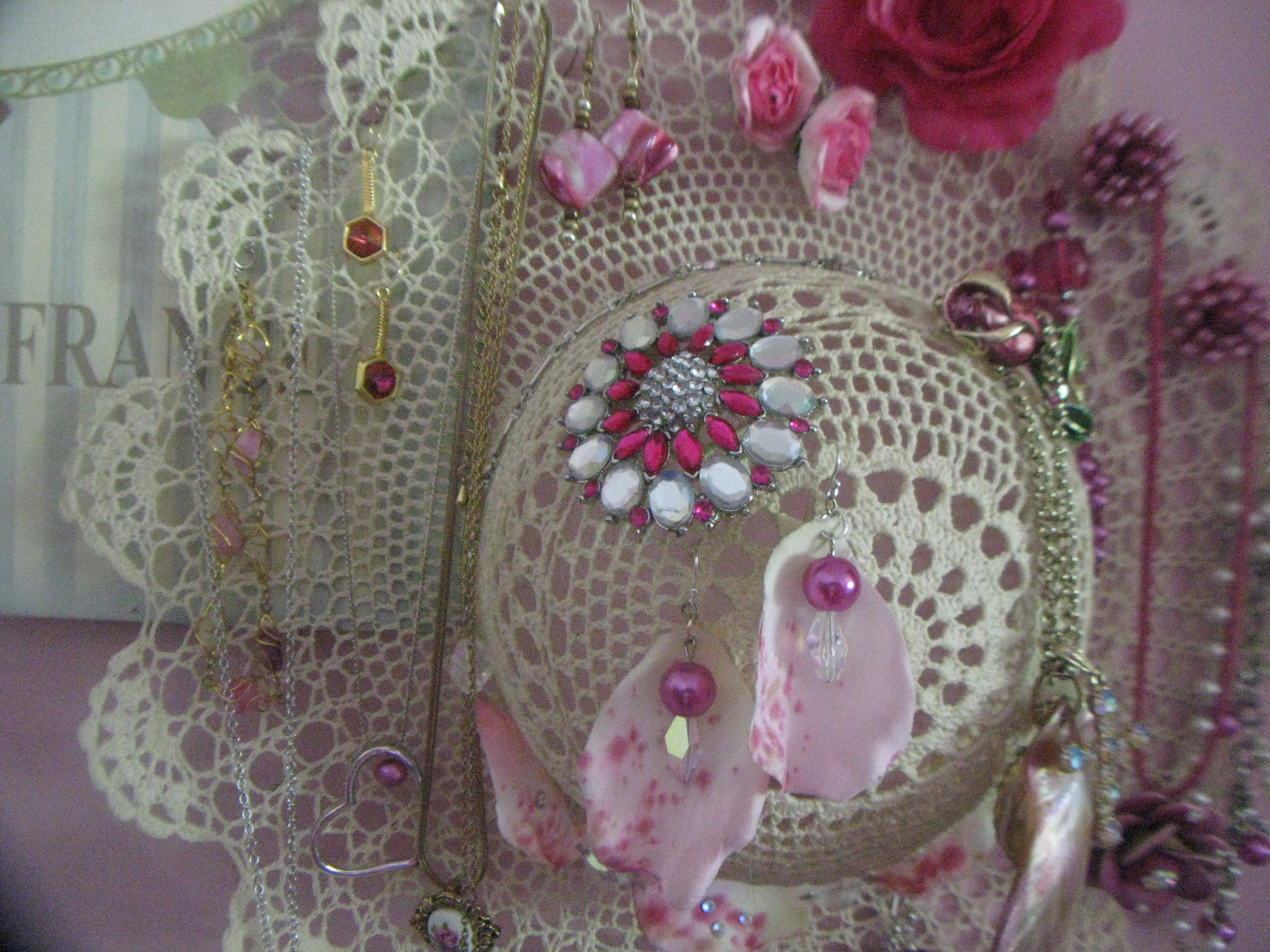 "Lace Hat Jewellery Display or ""Where the Pink Things Live"""