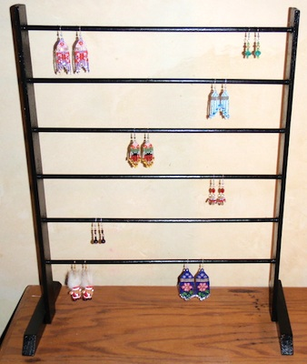 Doweled Wood Earring Display