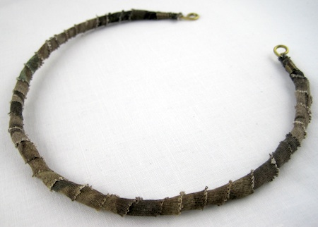 Fabric wrapped choker necklace tutorial by Rena Klingenberg