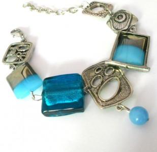 Abstract Blue Glass Bracelet