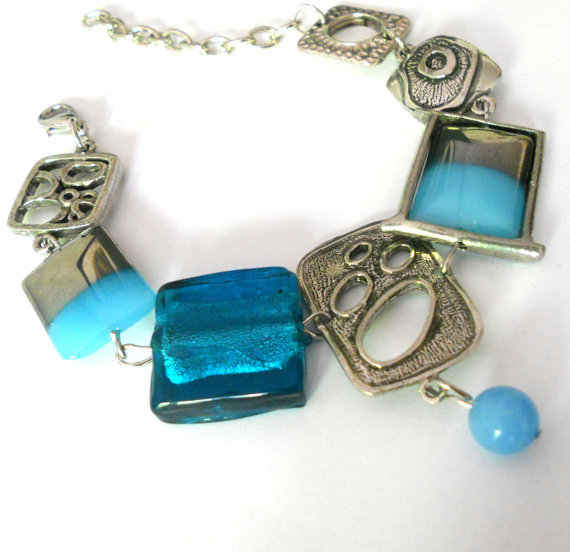 Abstract Blue Glass Bracelet