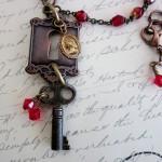 Skeleton Key Necklace with Keyhole & Vintage Rosary Beads