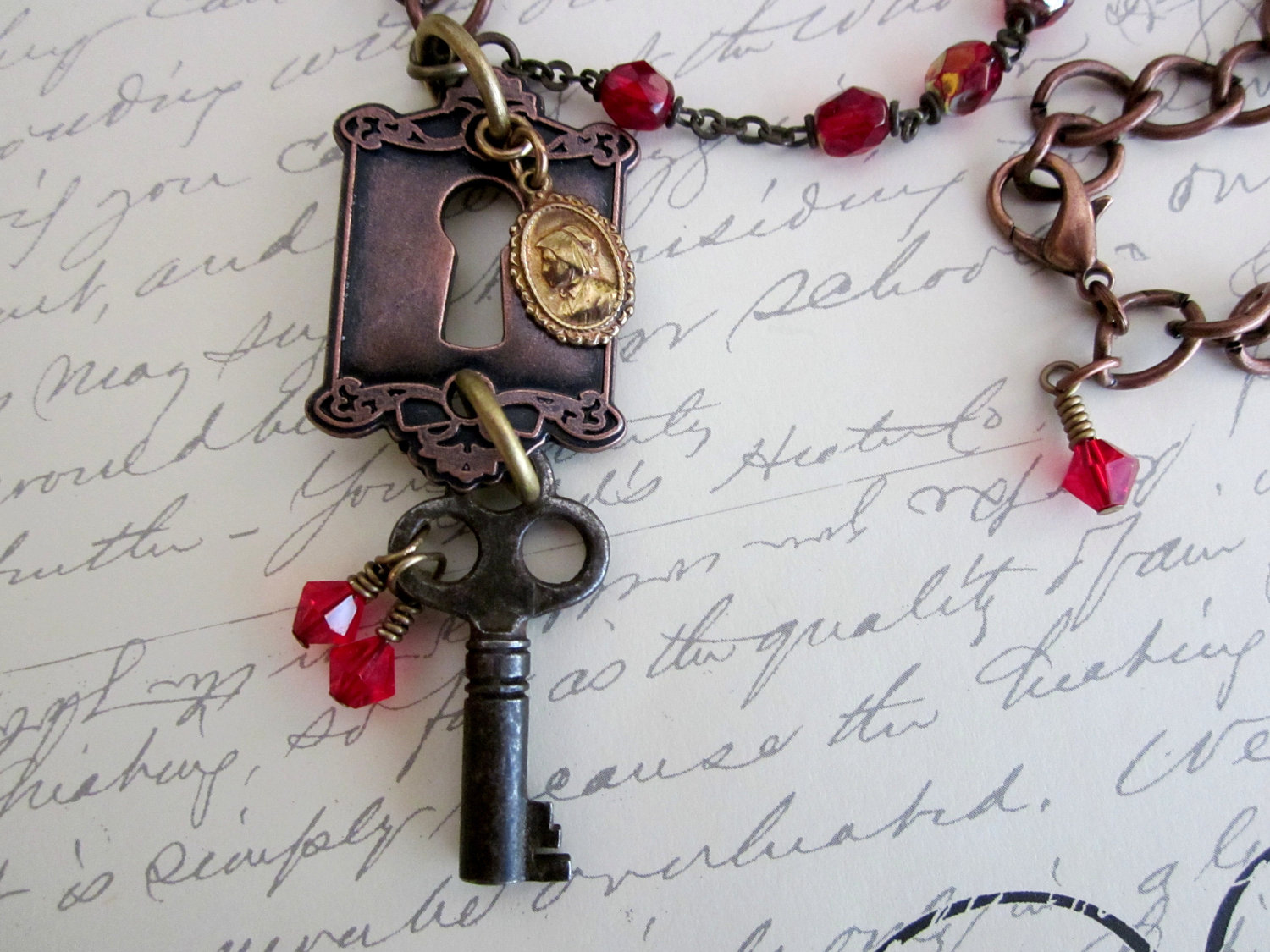 Skeleton Key Necklace with Keyhole & Vintage Rosary Beads
