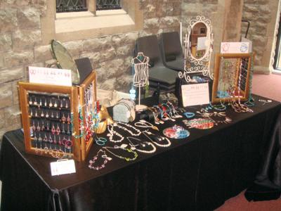 Jewellery Booth with Photo Frames and Bits and Bobs from Charity Shops