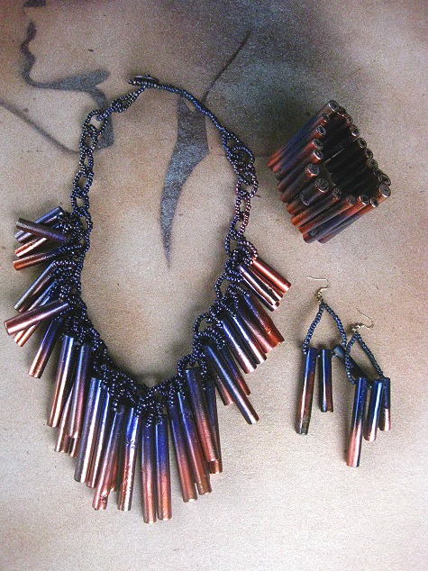 Bamboo Grass Tubes Jewellery Set