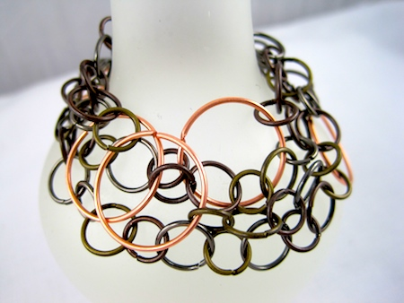 Mixed Metal Wrap Bracelet or Necklace by Rena Klingenberg