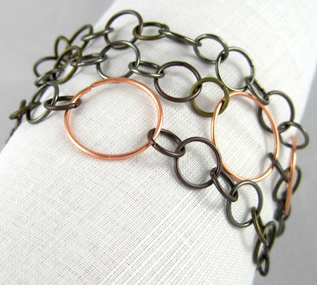Mixed metal wrap bracelet by Rena Klingenberg