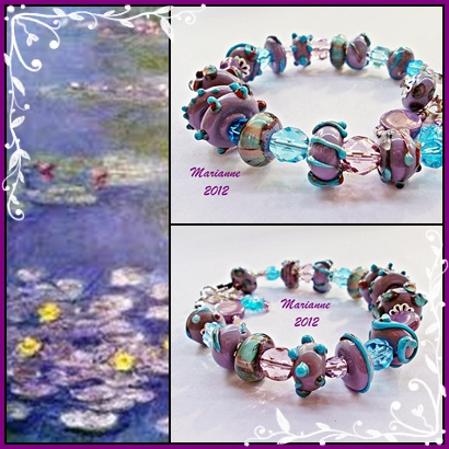 Lampwork Bracelets Inspired by Claude Monet