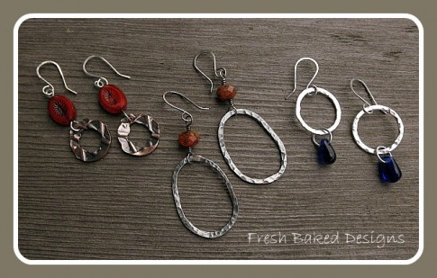 copper and sterling silver earrings by Lynda Carson