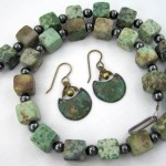 Turquoise cube necklace, green patina earrings