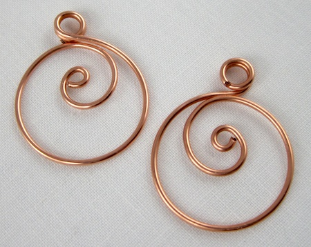Zen spiral hoop earrings tutorial - hoops with spirals and top loops