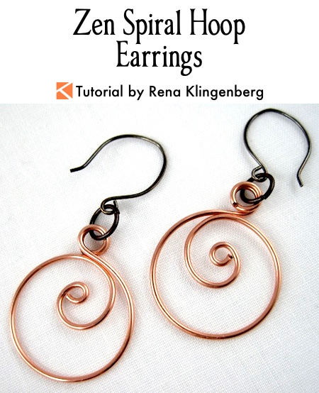 Zen Spiral Hoop Earrings Tutorial by Rena Klingenberg